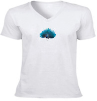Cute Peacock Colorful Unisex Tee V-Neck T-Shirt Mens Women Gift Print Shirts