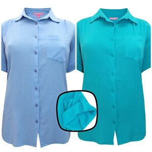 Woman Within cotton blouse plus size 18-42 blue turquoise crinkle summer shirt
