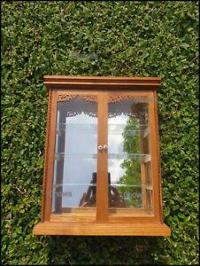 Wall Curio Cabinet Display Glass 2 Door Teak Carved Display Gifts Figurines Case