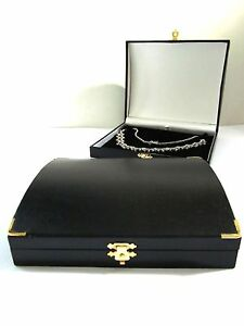 Chest Antique Style Necklace Jewelery GiftBox Black Leatherette Metal Clasp&Trim