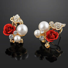 Earrings -  Beautiful little Red Rose and pearl Earrings
