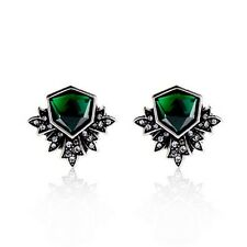 Maven Deco Statement Stud Earrings Brilliant Hues of Emerald Crystal Antique CI