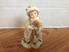 Demdaco WINTER PROMENADE Angel Girl Figurine Dachshund Dog Warmth of Friendship