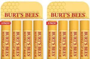 8 TUBES, BURT'S BEES ORIGINAL PEPPERMINT ORGANIC BEESWAX Lip Balm chapstick 4PK