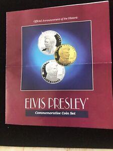 1993 Elvis Presley Marshall Islands 3-Coin Set, 1oz Silver $50, Brass $10, COA