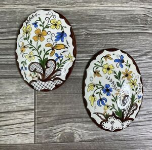 Vintage Ceramic Wall Plaque Pair Oval Floral Brown Orange Yellow and Blue