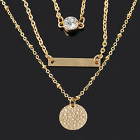 Fashion Women Multi-Layer Chain Gold Geometry Charms Long Pendant Necklace Gift