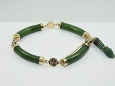 STRIKING 14K GOLD & CHINESE CARVED GEM SPINACH JADE BRACELET w/ FIGA LUCKY CHARM