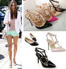 Women Rivet Stud Stilettos Pumps Sandals Pointed Party Evening Shoes High Heels