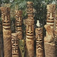 Mai Tiki Heads Sea Gull Pelican Totem Wood Palm Poles Studio Gallery Postcard