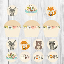 It's a Boy, Baby Shower Cupcake Wrappers and Toppers, Woodland Theme, Baby Boy