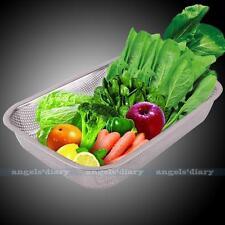 30cm Stainless Steel Square Mesh Colander Vegetable Strainer Sieve Basket Tool