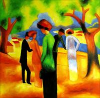 August Macke Lady in Green Repro, Quality Hand Painted Oil Painting 36x36in