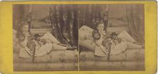 Femme sur un divan Scène Artistique Photo Stereo Vintage Albumine ca 1865