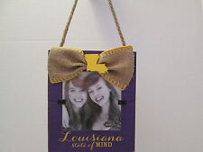 """Louisiana State of Mind"" Picture Frame, Distressed Wood and Burlap, NWT"