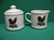ROOSTER WITH APPLES AND GRAPES SUGAR  BOWL  AND  CREAMER  CERAMIC MADE  IN  USA