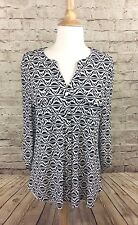 New Charter Club Long Sleeve Black Geometric Button Down Large NWTs