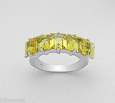 7mm Wide Solid Sterling Silver Citrine Wedding Anniversary Band Ring size 9 WOW!