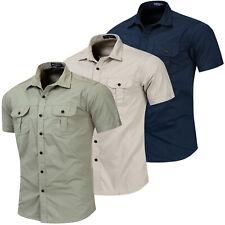Nova Camisa Masculina Manga Curta Camisa De Algodão militar de carga de trabalho ao ar livre Bolso Camisa witm