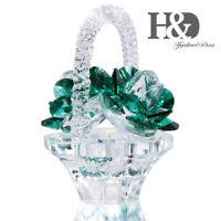 Crystal Flower Basket Ornament,Collectible Figurine Paperweight Decor For Home