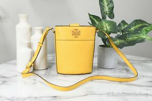Tory Burch (82301) Britten Goldfinch Pebbled Leather Mini Bucket Crossbody Bag