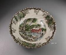 """JOHNSON BROTHERS the FRIENDLY VILLAGE 2 ROUND CEREAL BOWLS 6 1/8""""- made England"""