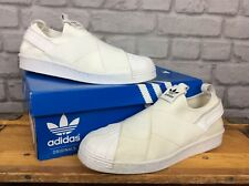 ADIDAS LADIES UK 8 EU 42 ORIGINALS WHITE MONO SUPERSTAR SLIP ON TRAINERS