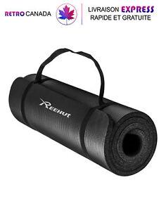 Tapis de yoga extra épais NBR haute densité pour yoga, pilates, fitness Noir