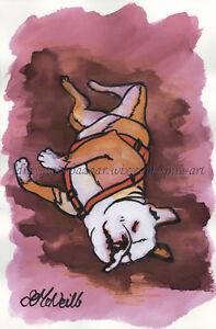 "SFA Original Art 7x5"" Animal Dog Bulldog Pet Ink Acrylic Painting - SMcNeill"