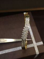 Pave 1.75 Cts Natural Diamonds Hinged Bangle Bracelet In Solid Hallmark 18K Gold