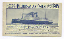 S.S. ROTTERDAM, PAMPHLET W/ ITINERARY CLARK'S 17th ANNUAL CRUISE FEB. 14, 1915