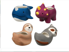 New ListingCeramic Animal Planters,.narwhals, triceratops, sloths, and racoon