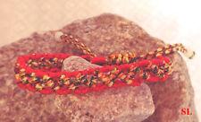 Bracelet tissu rouge stressé porte bonheur, chance, réglable