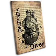 Diving Helmet Old Industrial Vintage SINGLE LONA pared arte Foto impresion