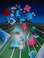 Stan Solomon Acrylic Painting - 'Len Scape' - Framed Original - Geometric - 1984
