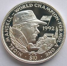 Liberia 1992 Nigel Mansell 10 Dollars 1oz Silver Coin,Proof