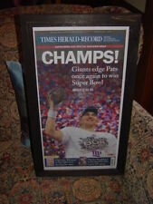 NEW YORK GIANTS MAN CAVE ORIGINAL FRAMED NEWSPAPER TIMES HERALD-RECORD CHAMPS