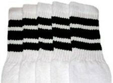 "25"" KNEE HIGH WHITE tube socks with BLACK stripes style 1 (25-9)"