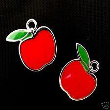 2 x Red Apple plaqué argent émail Charms Pendants