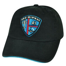 USS Midway Navy Military Relaxed Sun Buckle Hat Cap Black Historic US Adjustable