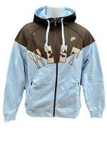 NEW Vintage NIKE Sportswear NSW 'WEST' Mens Hoodie Jacket Brown Sky Blue M