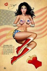 Nathan Szerdy SIGNED 12x18 Inch DC Comics JLA Art Print ~ Wonder Woman