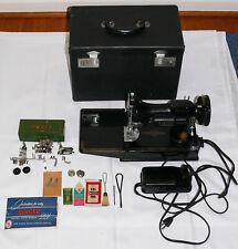 Vintage Singer 221 Featherweight Sewing Machine w/ Case & Attachments