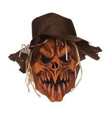 Scarecrow Pumpkin Skull Latex Overhead Mask & Felt Hat Halloween P9402