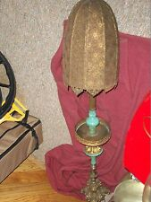 Rare Antique Pedestal Floor Lamp with Mediterranean Brass Style Shade & Accents