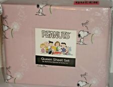 Peanuts Snoopy Spring Pink Queen Sheet Set Berkshire Wishing on Dandelions POOF!