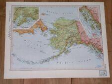 1951 ORIGINAL VINTAGE MAP OF ALASKA / YUKON CANADA