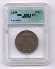 AUSTRIA  1848-A  2 KREUZER COIN GEM UNCIRCULATED, ICG CERTIFIED MS65-BN