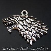 39984 Antique Silver Alloy  Animal Lion Head Pendants Charms Jewellery 10Pcs
