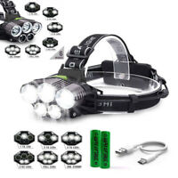 500000LM 5X T6 LED Headlamp Rechargeable Headlight 18650 Flashlight Head Torch